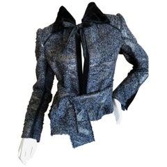 J. Mendel Paris Bead Embellished Tweed Belted Jacket with Fur Collar and Belt
