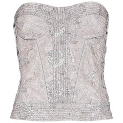 Christian Dior by John Galliano Metallic Silver Embroidered Bustier Top