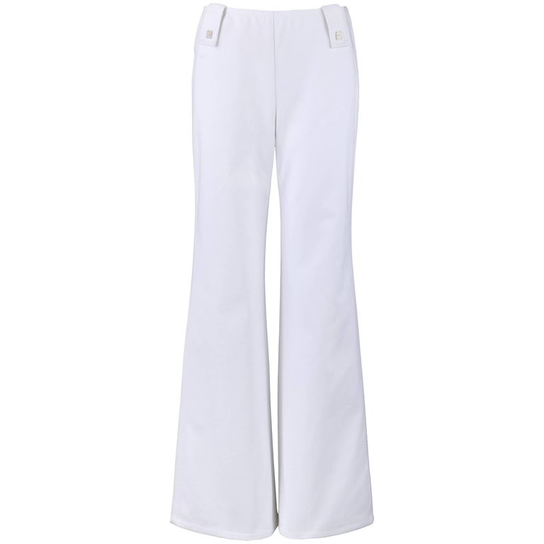CHANEL S/S 2001 White Denim High Waisted Flare Jeans Pants