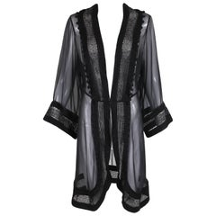 "Vintage Norma Kamali ""OMO"" Black Sheer Silk Dressing Jacket Top"