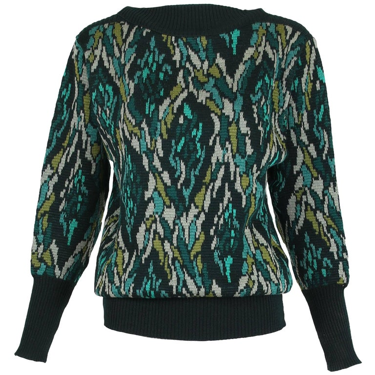 Yves Saint Laurent Vintage Multi-Colored Abstract Pattern Sweater