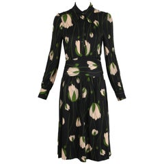 Diane Von Furstenberg Black Tulip Print Dress with Wrap Waist Ties, 1970s