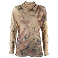 JEAN PAUL GAULTIER Femme A/W 2008 Silk Chiffon Floral Bird Print Cowl Neck Top