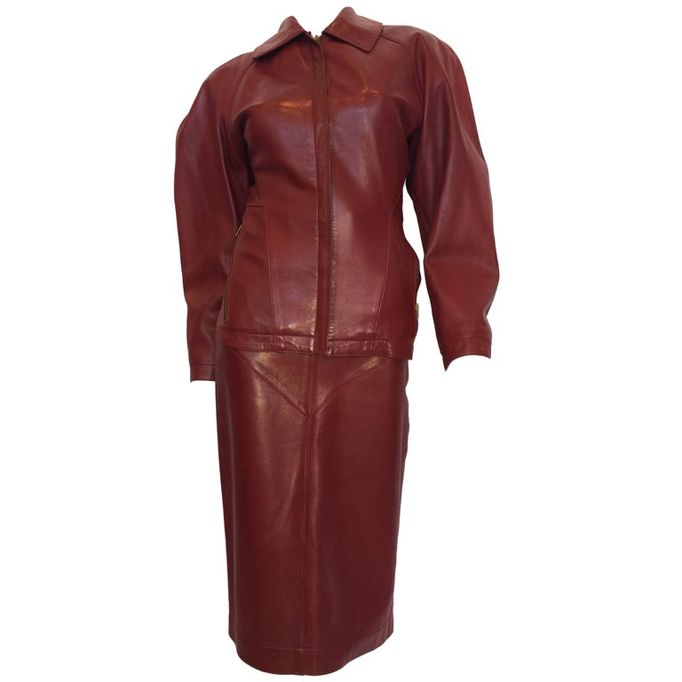 Alaïa 1980's Red Leather Skirt Suit For Sale