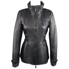 BURBERRY LONDON Size 6 Black Shiny Quilted Tailored High Collar Jacket