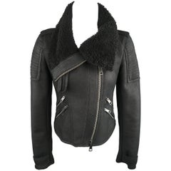 BURBERRY BRIT Size 4 Black Leather Shearling Cropped Biker Jacket