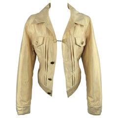 MARC JACOBS Size 8 Metallic Gold Linen Pleated Trucker Jacket