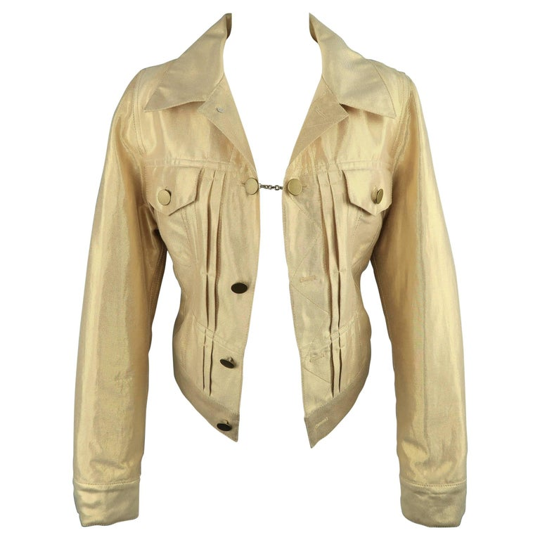 MARC JACOBS Size 8 Metallic Gold Linen Pleated Trucker Jacket
