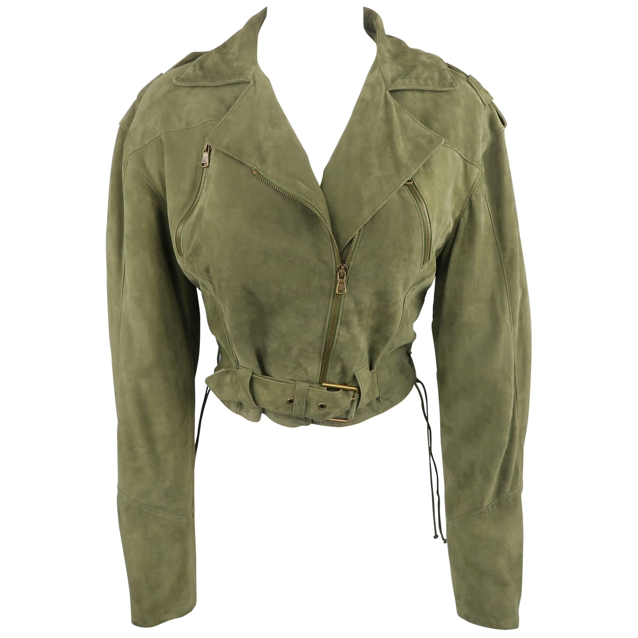 RALPH LAUREN Size 6 Olive Suede Cropped Lace Up Biker Jacket