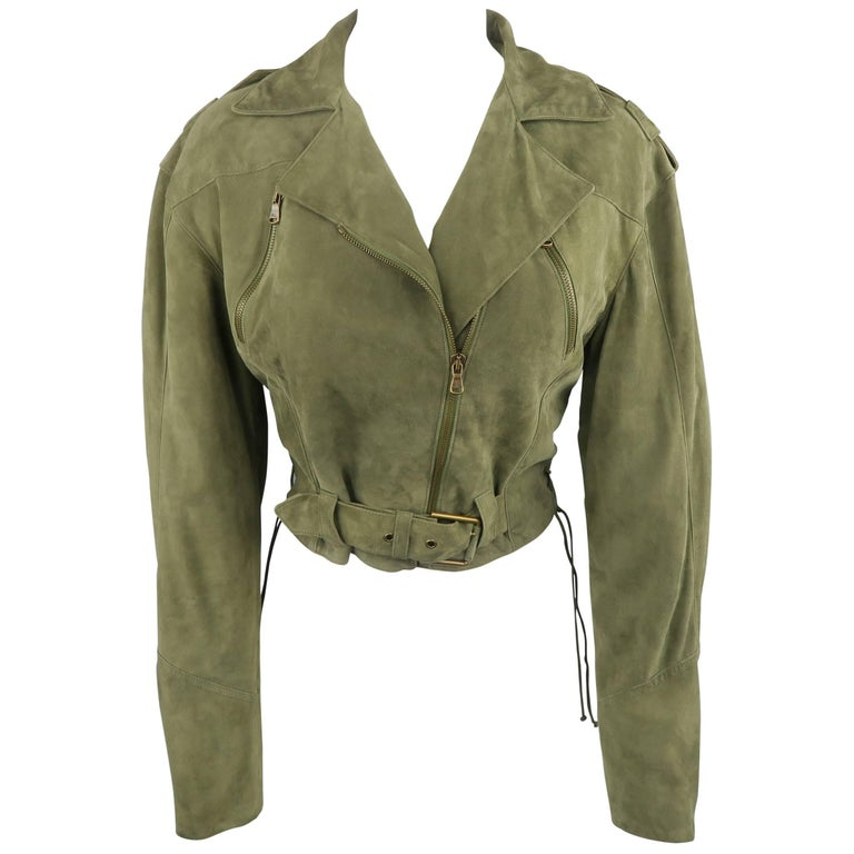 RALPH LAUREN Size 6 Olive Suede Cropped Lace Up Biker Jacket