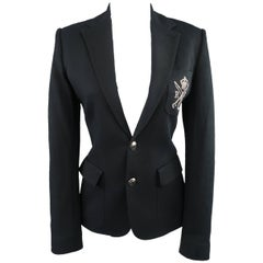 RALPH LAUREN Size 8 Black Cotton Jersey Silver Embroidered Pocket Blazer