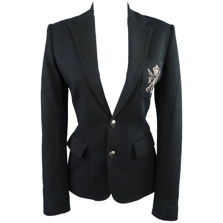 RALPH LAUREN Size 8 Black Cotton Jersey Silver Embroidered Pocket Blazer For Sale