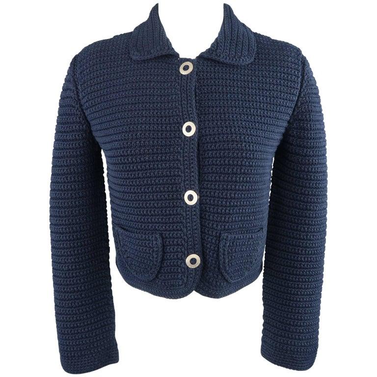 OSCAR DE LA RENTA Size M Blue Cotton Sailor Knit Silver Snap Cropped Jacket