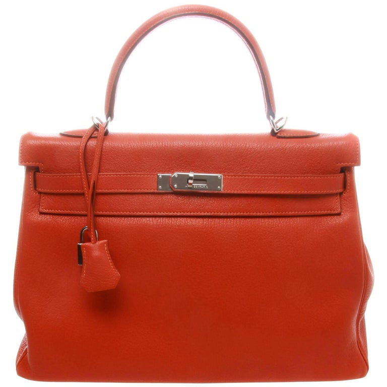 Hermès Kelly Retourne 35 Orange Chevre Mysore