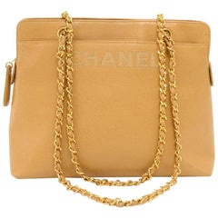 Chanel Beige Caviar Leather Medium Shoulder Chain Bag