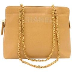 Chanel Beige Caviar Leather Medium Shoulder Chain Bag