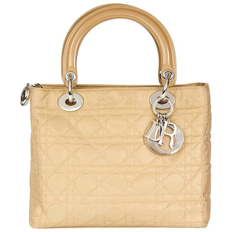 2001 Christian Dior Beige Quilted Satin & Patent Leather Lady Dior MM  For Sale