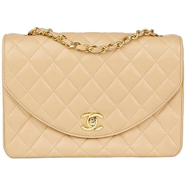 1990 Chanel Beige Quilted Lambskin Vintage Classic Single Flap Bag