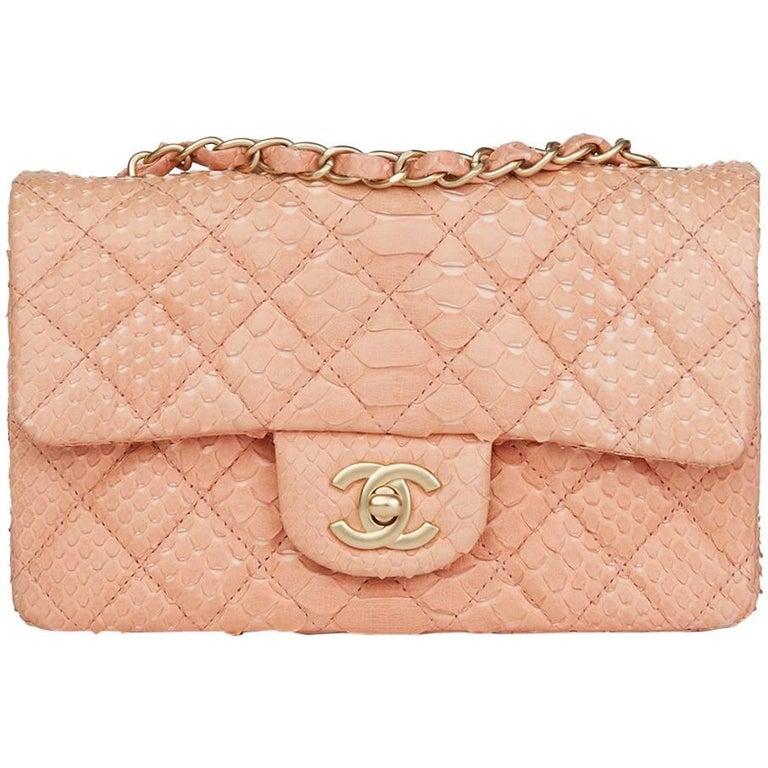 2014 Chanel Peach Python Leather Rectangular Mini Flap Bag