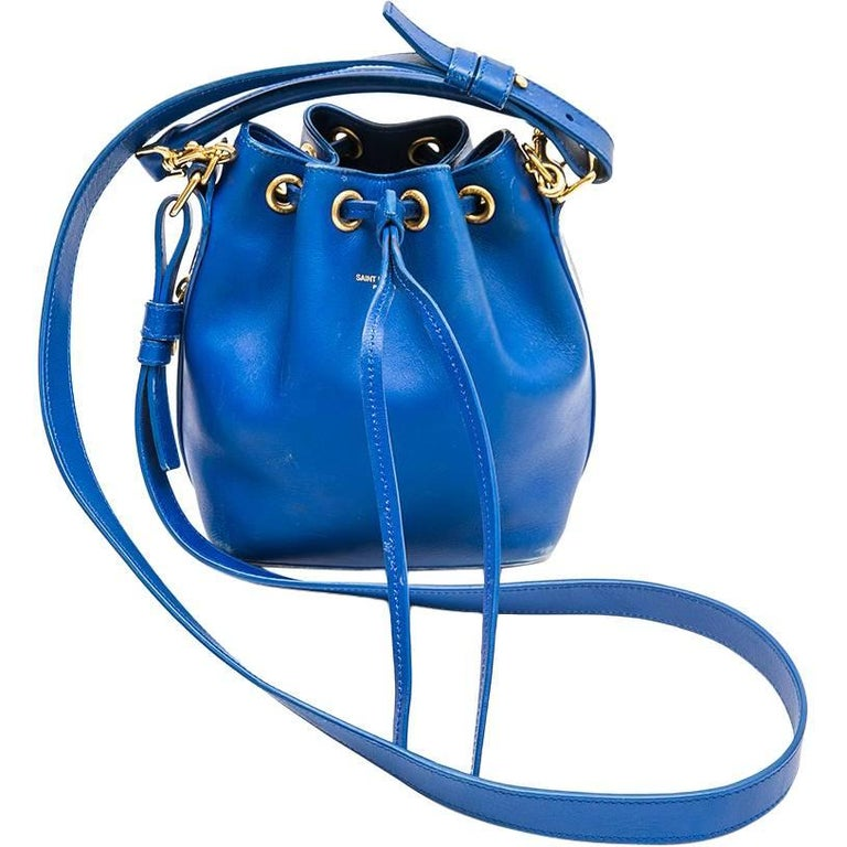 SAINT LAURENT Mini 'Emmanuelle' Bag in Blue Electric Leather