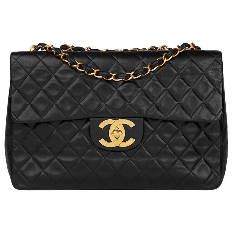 1994 Chanel Black Quilted Lambskin Vintage Maxi Jumbo XL Flap Bag For Sale 5f30adf4da