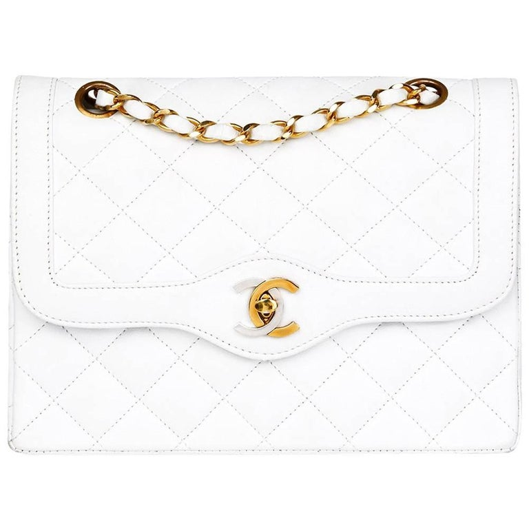 1993 Chanel White Quilted Lambskin Vintage Limited Edition Double Flap Bag