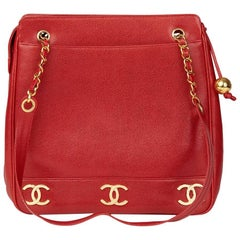 1996 Chanel Red Caviar Leather Vintage Timeless Shoulder Bag