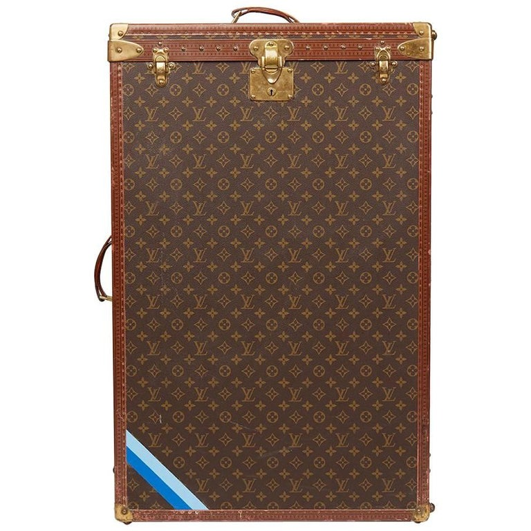 1980 Louis Vuitton Brown Monogram Coated Canvas Vintage Wardrobe Trunk For Sale
