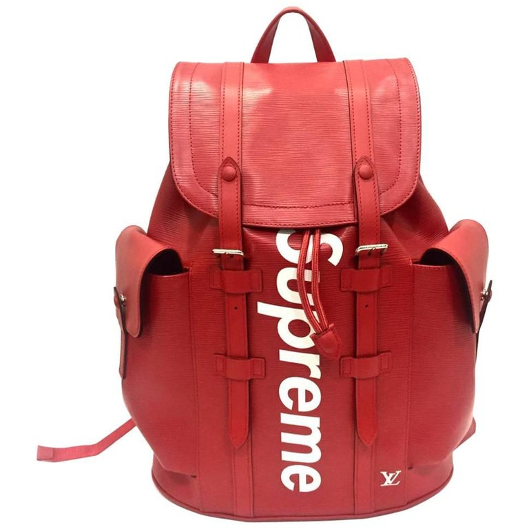 Louis Vuitton Red Leather Backpack for Supreme, 2017