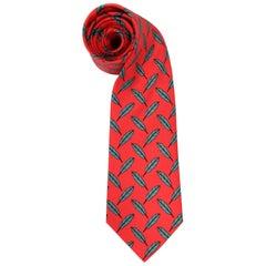 Hermès Multicolor Printed Silk Tie, 1990s