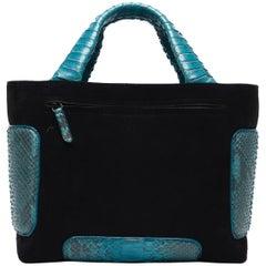 Kayla Cube Blue Monet Suede and Blue Nuit Multi Python Leather Handbag