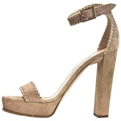 Jimmy Choo Nude Suede Holly Sandals Sz 40