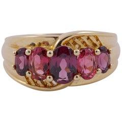 14K Gold Five Stone Garnet Dress Ring