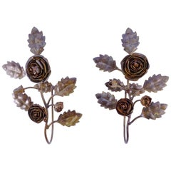 Pair of French Wrought Iron Rose and Leaf Design Tie Hold Backs Hooks