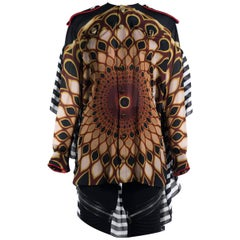 Givenchy Women's Multicolor Silk Kaliedo Eye Long Sleeve Blouse