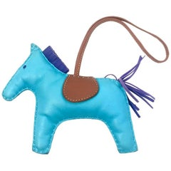 Hermes Aztec Blue Lamb Milo Leather Rodeo Bag Charm MM Horse