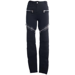 Givenchy Womens Black High Waist Zipper Biker Leggings
