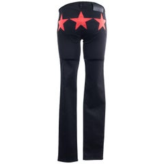 Givenchy Womens Black Cotton Red Star Skinny Jeans