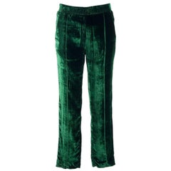 Haider Ackermann Womens Green Velvet Tapered Leg Track Pants