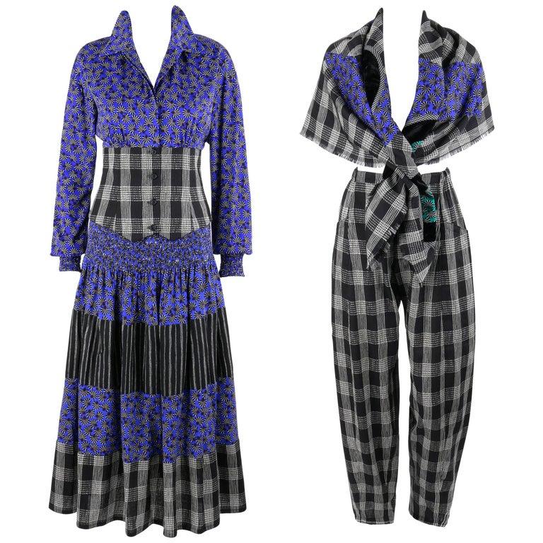 KOOS VAN DEN AKKER c. 1980's 4 Pc Patchwork Blouse Skirt Pants Suit Set w/ Shawl