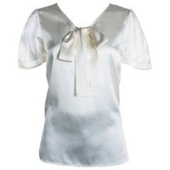 Saint Laurent Women's 100% Silk Bow Front Blouse