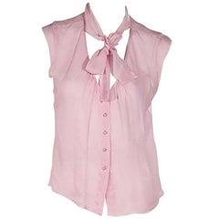 Pink Chanel Silk Chiffon Sleeveless Blouse