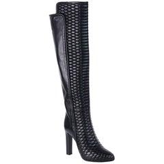 Roberto Cavalli Black Textured Leather OverTheKnee Heeled Boot