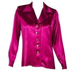 Hot Pink Yves Saint Laurent Silk Blouse