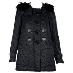 Black Burberry Brit Quilted Hooded Jacket