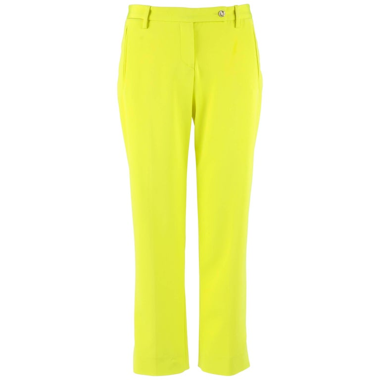 VERSACE S/S 2004 Neon Yellow Silk Cropped Capri Ankle Length Trouser Pants NWT