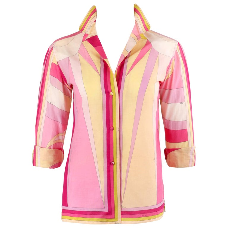 EMILIO PUCCI c.1960's Pink Geometric Sun Burst Signature Print Button Up Shirt