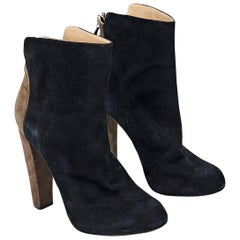 Black & Brown Aquazzura Suede Ankle Boots