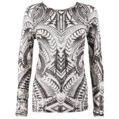 bb086d66ddace6 BALMAIN Resort 2012 Black & White Abstract Print Linen Knit Scoop Neck Top