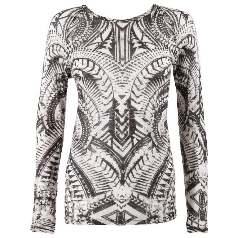 BALMAIN Resort 2012 Black & White Abstract Print Linen Knit Scoop Neck Top